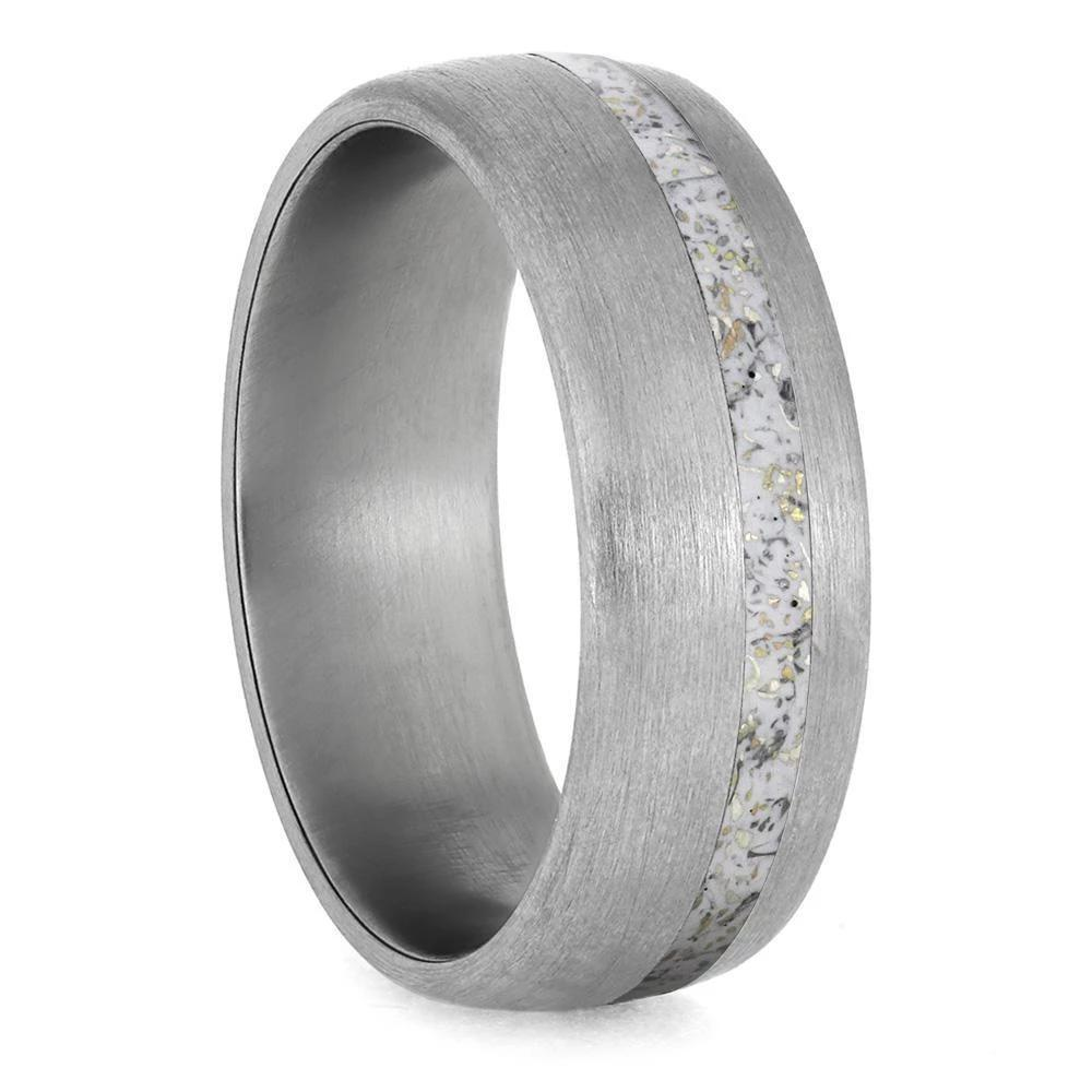 White Stardust™ Men's Wedding Band in Brushed Titanium-4222 - Jewelry by Johan