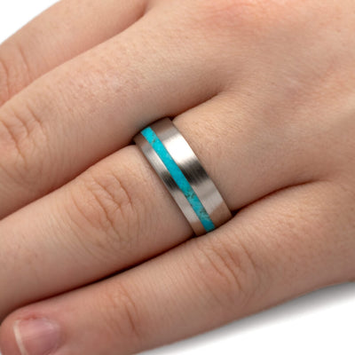 Turquoise Wedding Band With Titanium