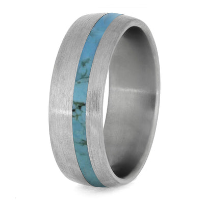 Turquoise Wedding Band With Brushed Titanium Finish-4223