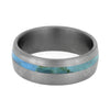 Turquoise Wedding Band With Brushed Titanium Finish-4223 - Jewelry by Johan