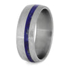 Blue Lapis Lazuli Wedding Band, Titanium Ring-4224