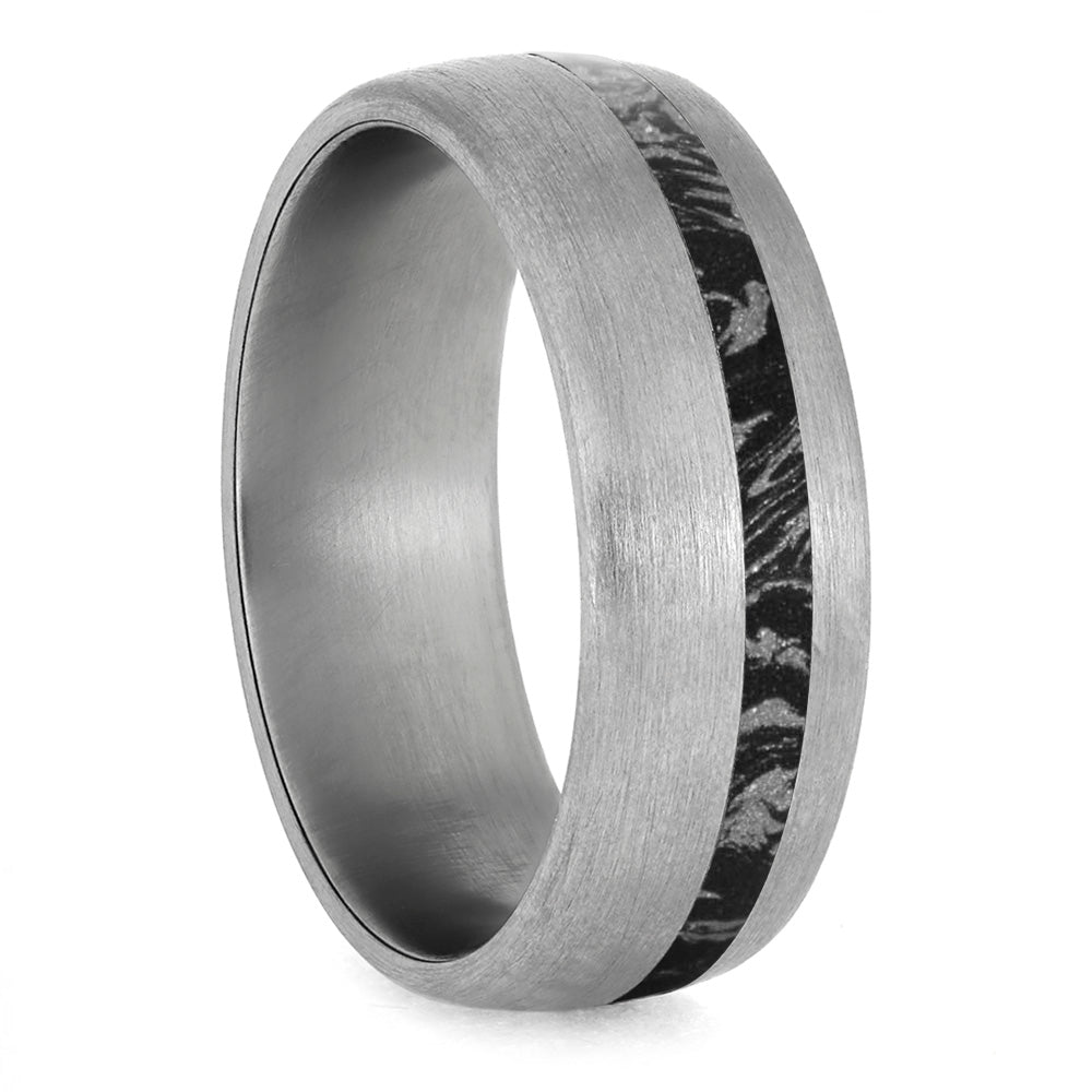 Black And White Mokume Gane Ring, Brushed Titanium Wedding Band-4228