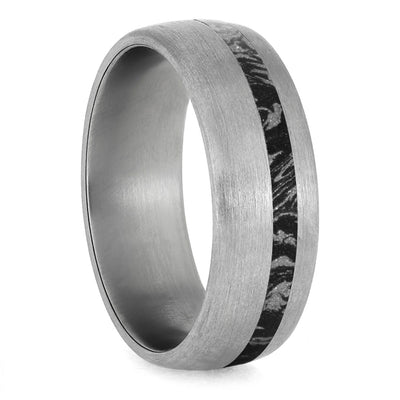 Black And White Mokume Gane Ring, Brushed Titanium Wedding Band-4228 - Jewelry by Johan