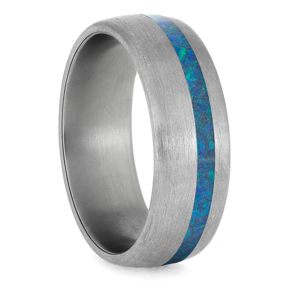 Synthetic Opal Wedding Band, Brushed Titanium Ring-4229