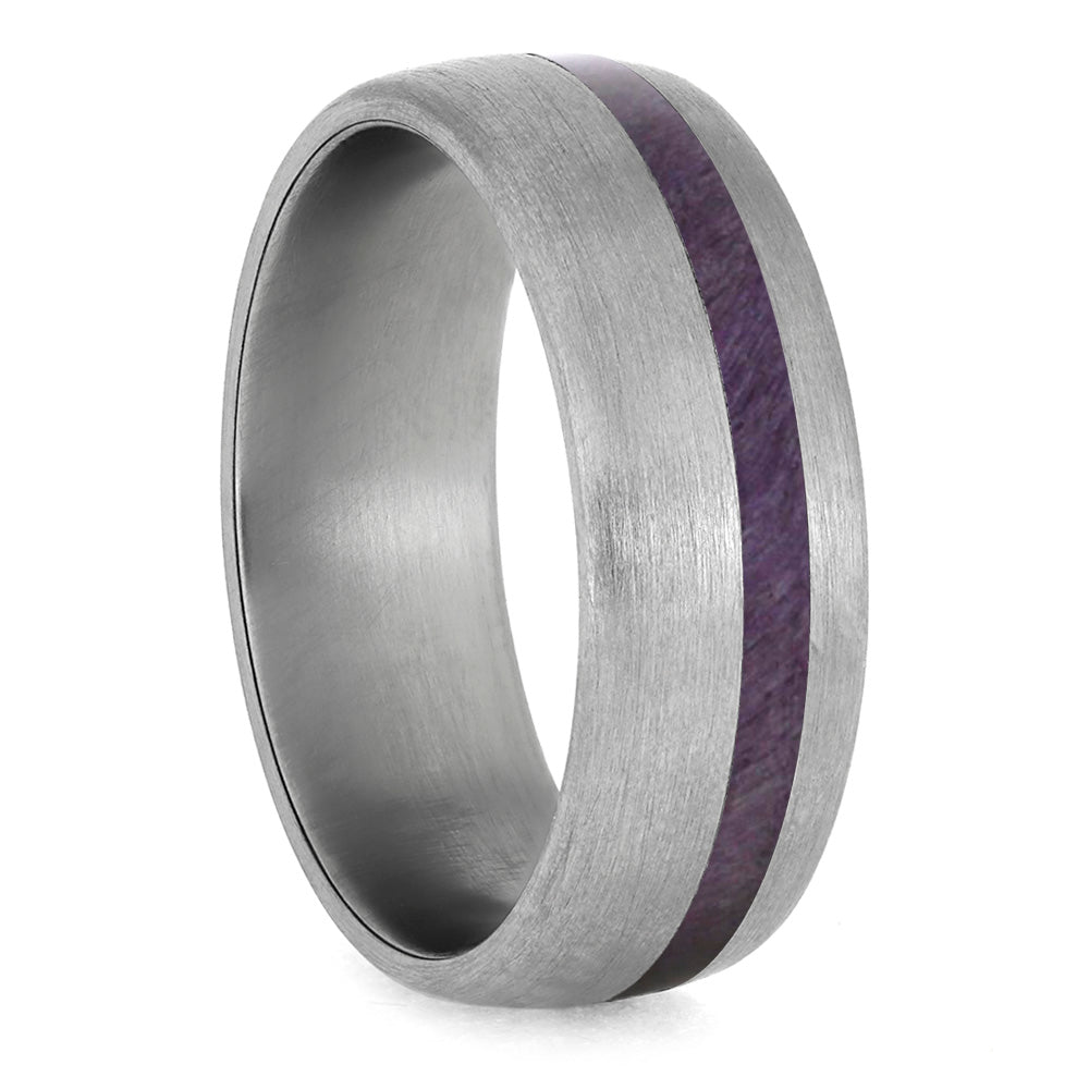 Purple Wood Wedding Band With Brushed Titanium Finish-4231