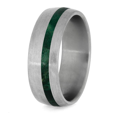 Green Box Elder Burl Ring With Brushed Titanium Finish-4232 - Jewelry by Johan