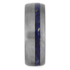 Blue Box Elder Wood Wedding Band With Brushed Titanium-4233 - Jewelry by Johan
