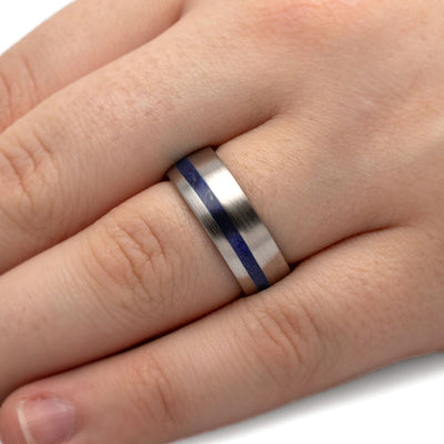 Blue Wood Ring on Hand