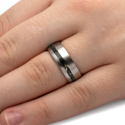 Black Stardust™ Men's Wedding Band in Brushed Titanium-4234 - Jewelry by Johan