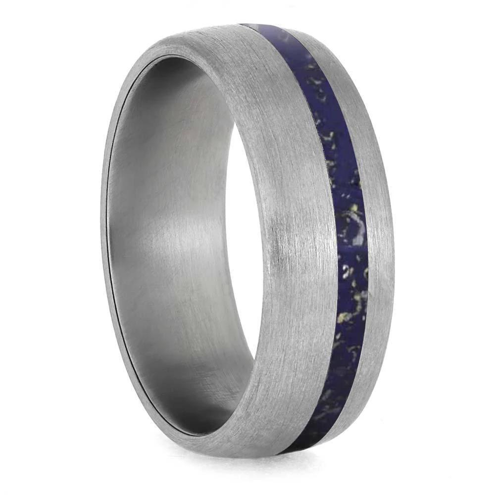 Wide Brushed Titanium Band with Blue Stardust Inlay