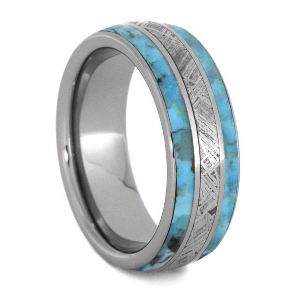 Meteorite Ring With Authentic Turquoise And Titanium Pinstripes-4238 - Jewelry by Johan