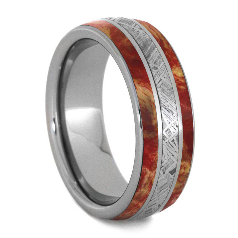 Red Box Elder Wood Men's Ring, Meteorite And Titanium Wedding Band-4247 - Jewelry by Johan