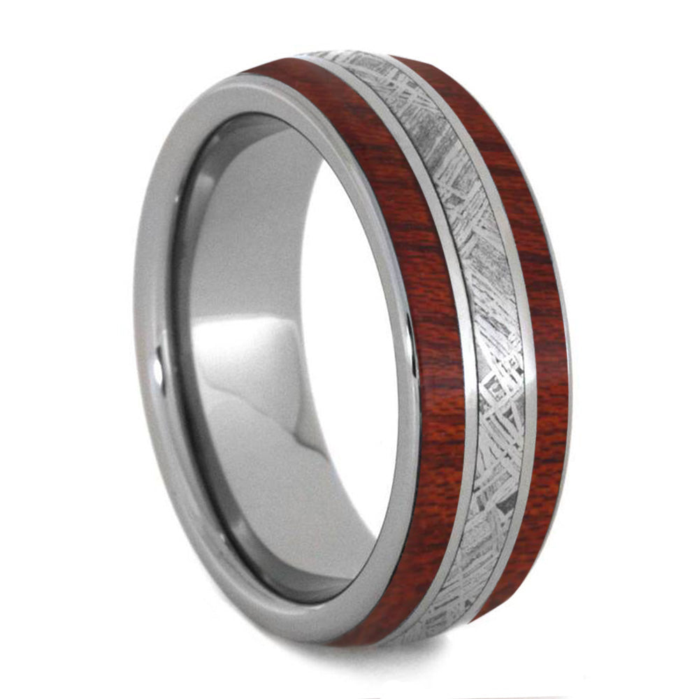 Bloodwood Men's Wedding Band With Meteorite Inlay, Titanium Ring-4248 - Jewelry by Johan