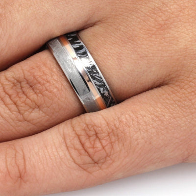 Meteorite Ring for Man, Mokume and Rose Gold in Titanium-3290 - Jewelry by Johan