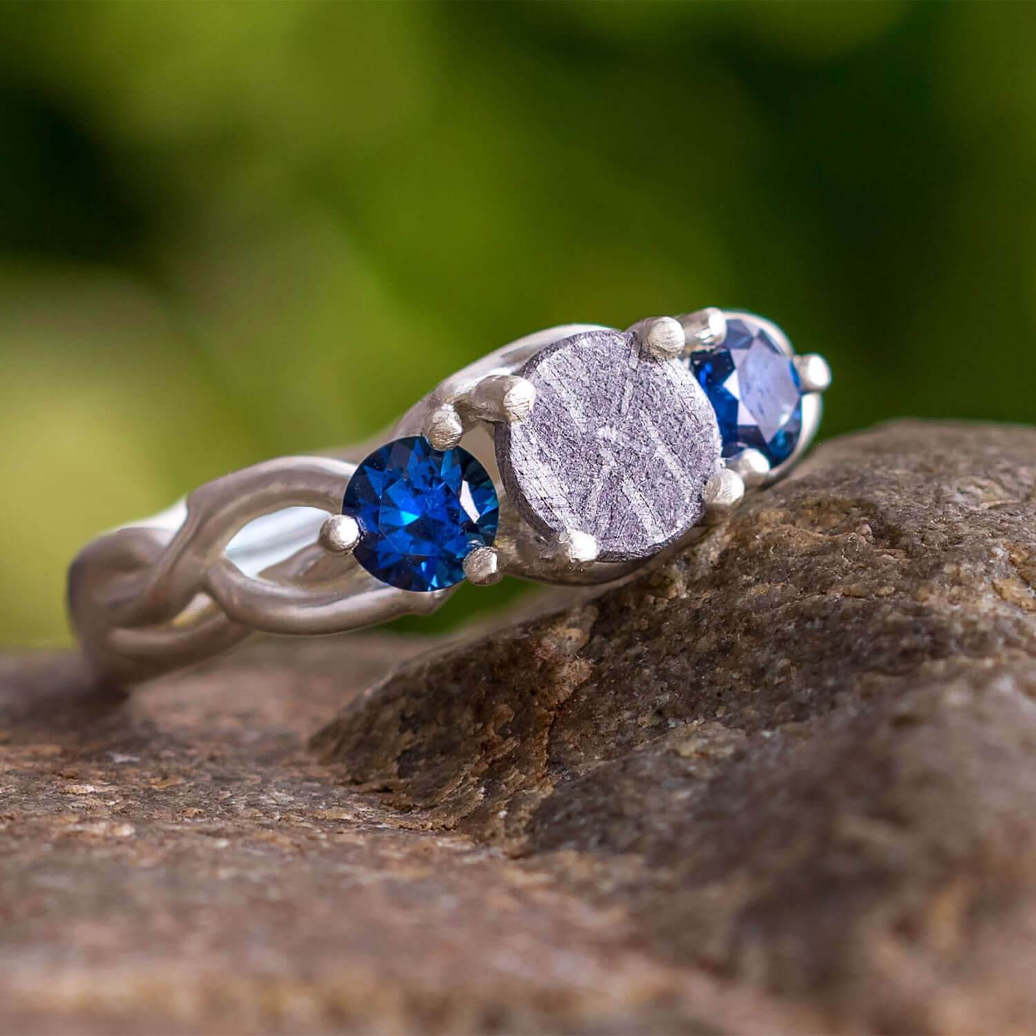 Blue Sapphire & Meteorite Engagement Ring, In Stock-SIG3049 - Jewelry by Johan