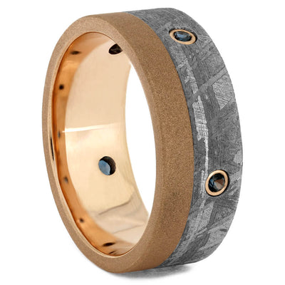 Men's Rose Gold Wedding Band with Meteorite and Topaz-4265 - Jewelry by Johan