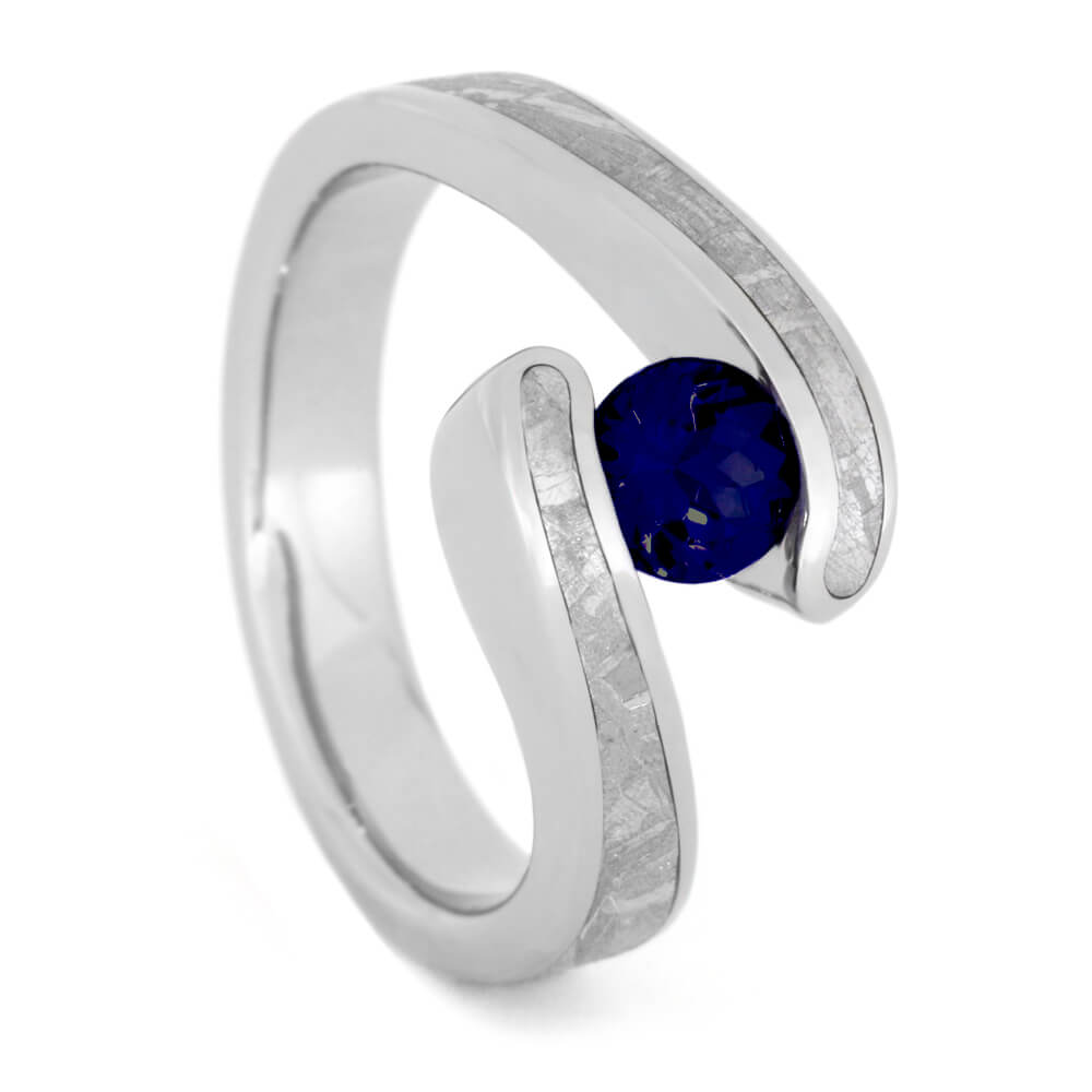 Blue Sapphire Engagement Ring, Titanium Meteorite Ring