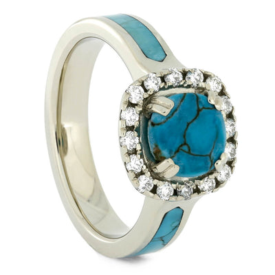 Diamond Halo Engagement Ring with Faceted Turquoise Stone-4274 - Jewelry by Johan