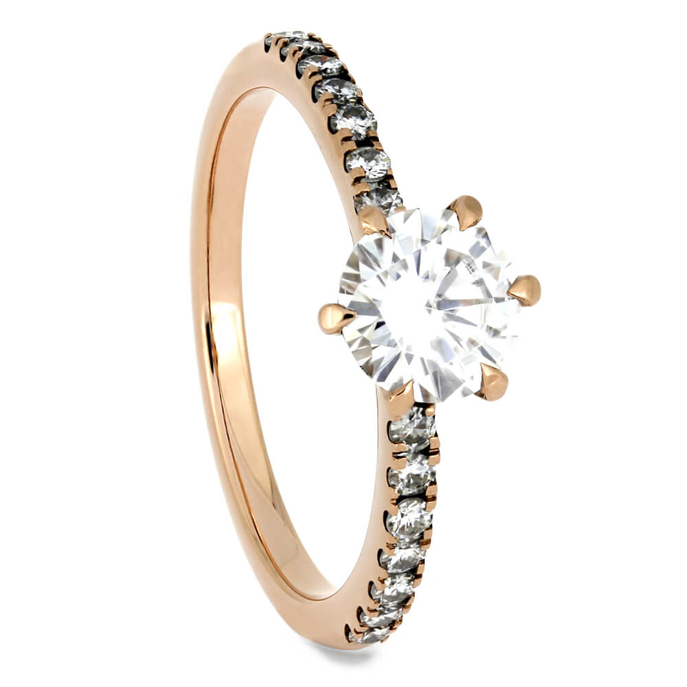 Rose Gold Cathedral Engagement Ring with Moissanite Accent Stones-4278 - Jewelry by Johan