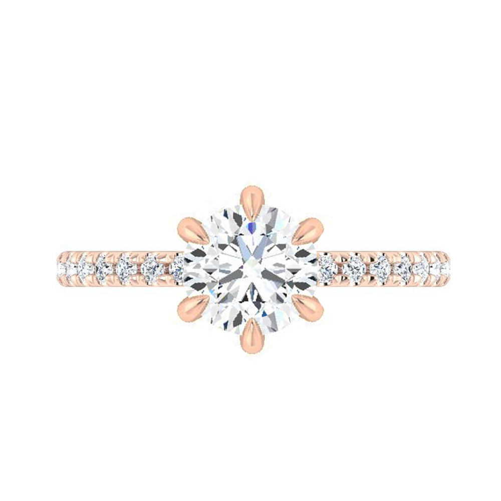 Moissanite Engagement Ring With 6 Claw Prong Setting-4278 - Jewelry by Johan