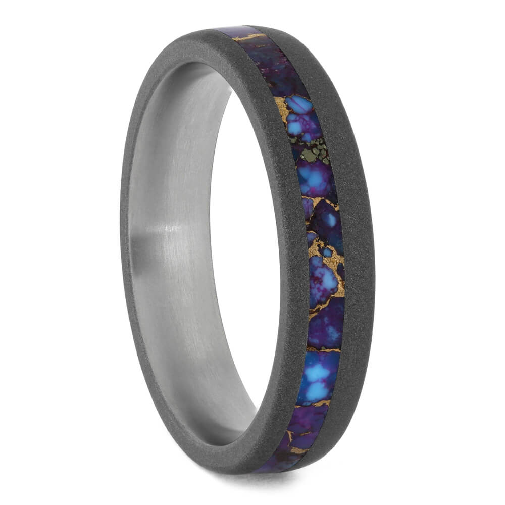 Lava Mosaic Turquoise Wedding Band in Sandblasted Titanium-4288 - Jewelry by Johan