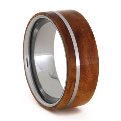 Tungsten Wedding Band with Ironwood Burl And Pinstripe, Size 8-RS9127 - Jewelry by Johan