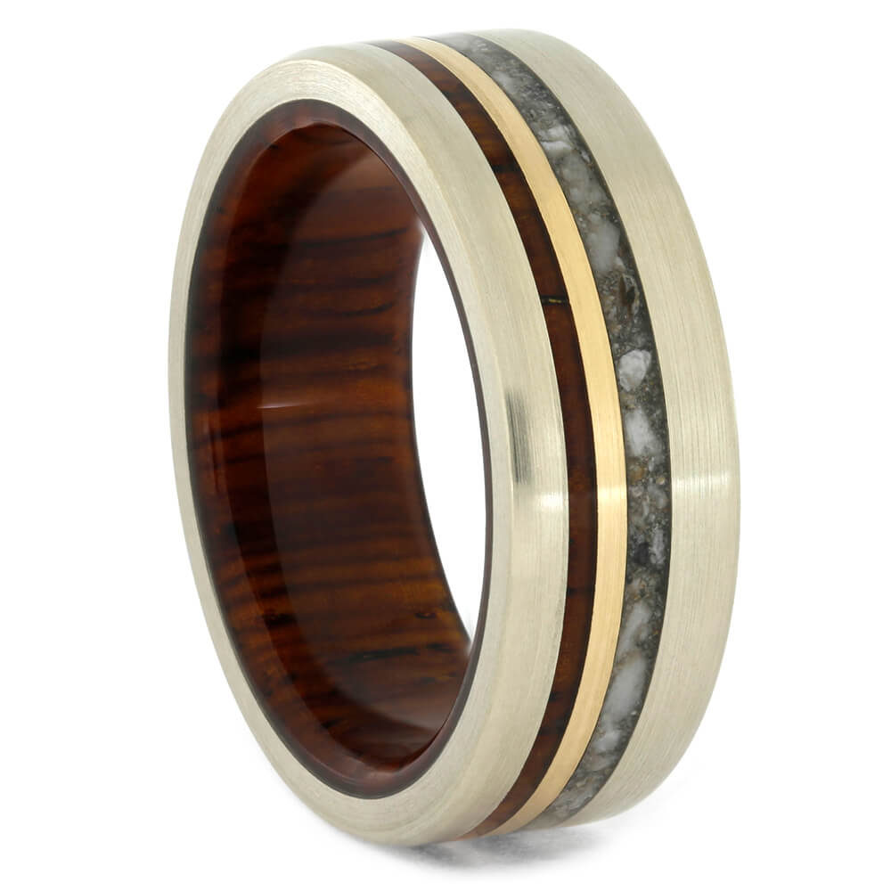 Memorial Ring with Cocobolo Wood Sleeve and Mixed Gold-4291 - Jewelry by Johan