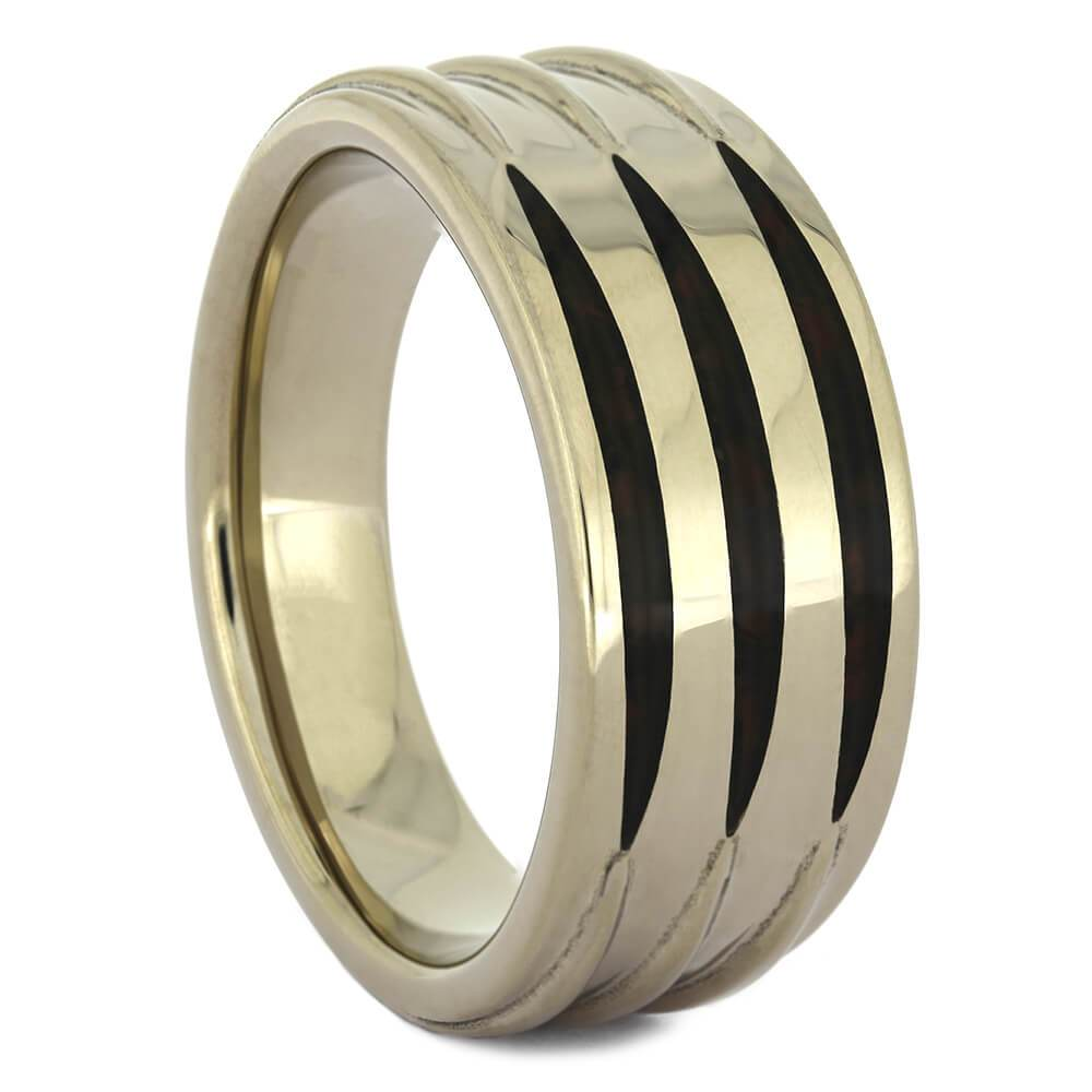 Three Stripe Dinosaur Bone Inlay Wedding Band