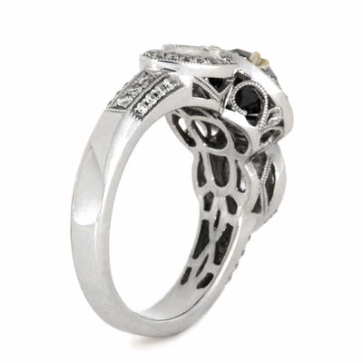 Black Diamond Vintage Inspired Engagement Ring in White Gold-3586 - Jewelry by Johan