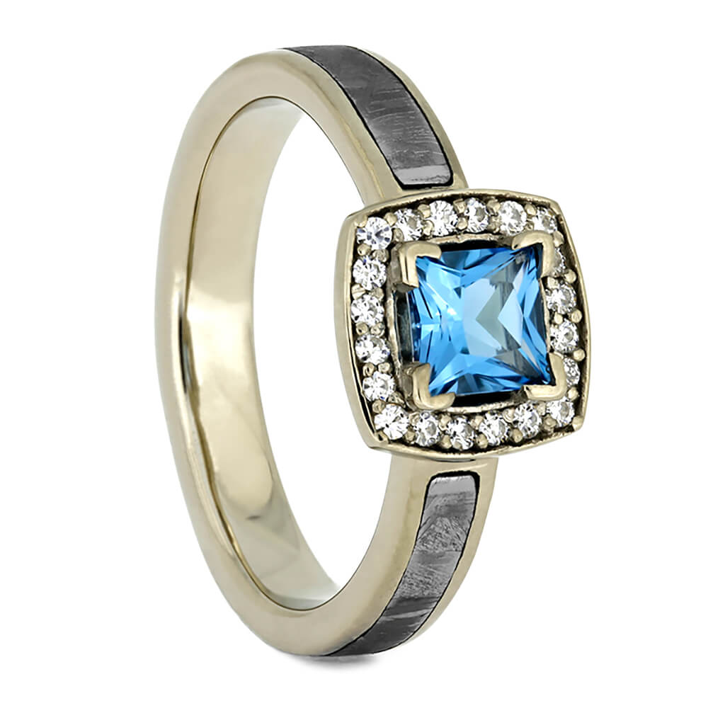 Blue Topaz Halo Engagement Ring with Meteorite and Moissanite Accent Stones-4296 - Jewelry by Johan