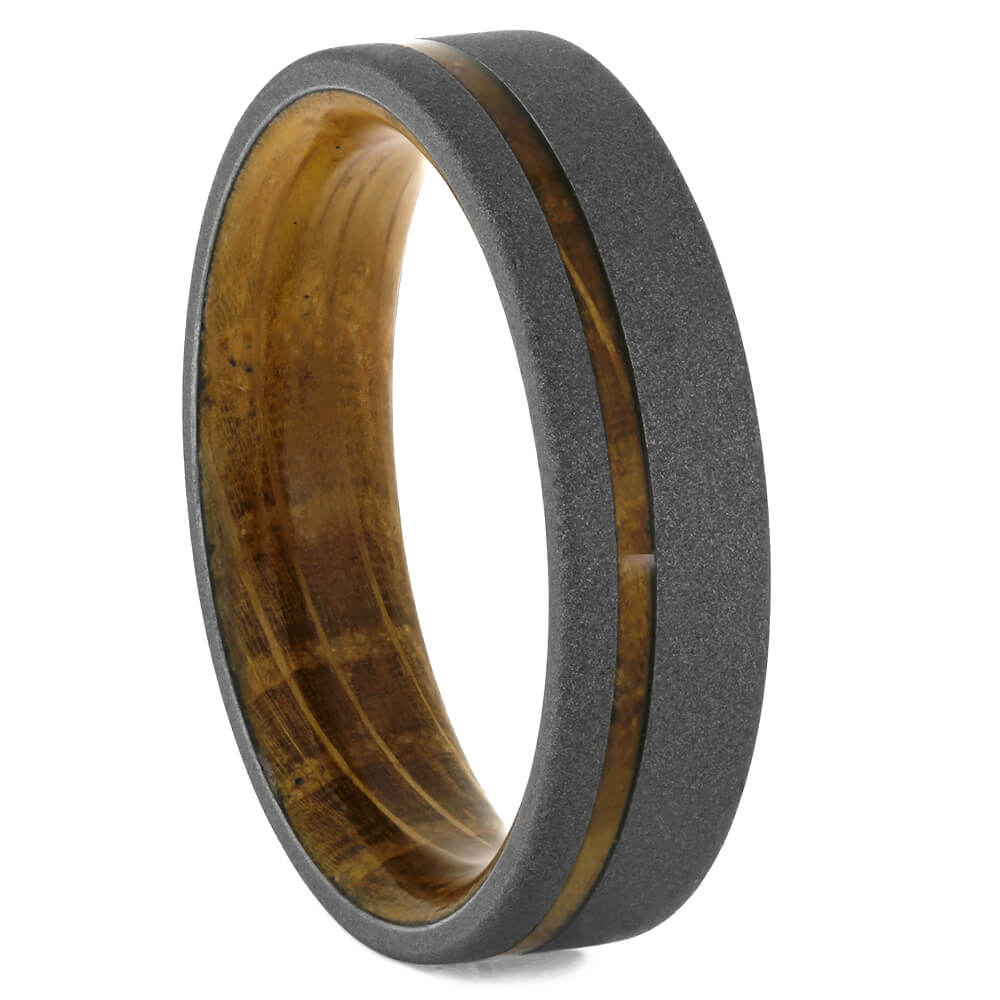Whiskey Barrel Wedding Band with Sandblasted Titanium-4299 - Jewelry by Johan