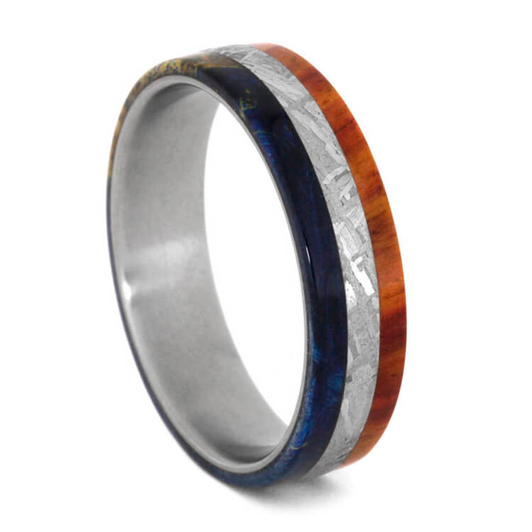 Meteorite Ring With Tulipwood And Blue Box Elder Burl, Unique Wood Ring-3696 - Jewelry by Johan