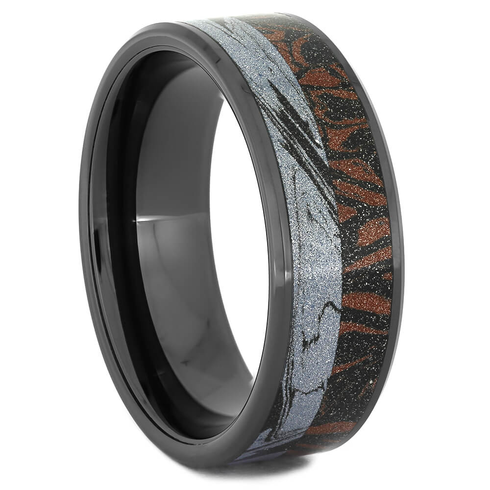 Black Ceramic Wedding Band with Red and Black Mokume-4301 - Jewelry by Johan