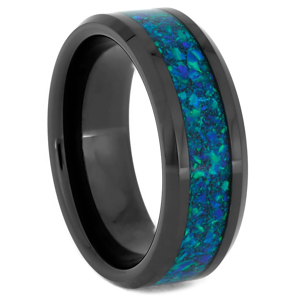 Synthetic Opal and Black Ceramic Men's Wedding Band-4302 - Jewelry by Johan