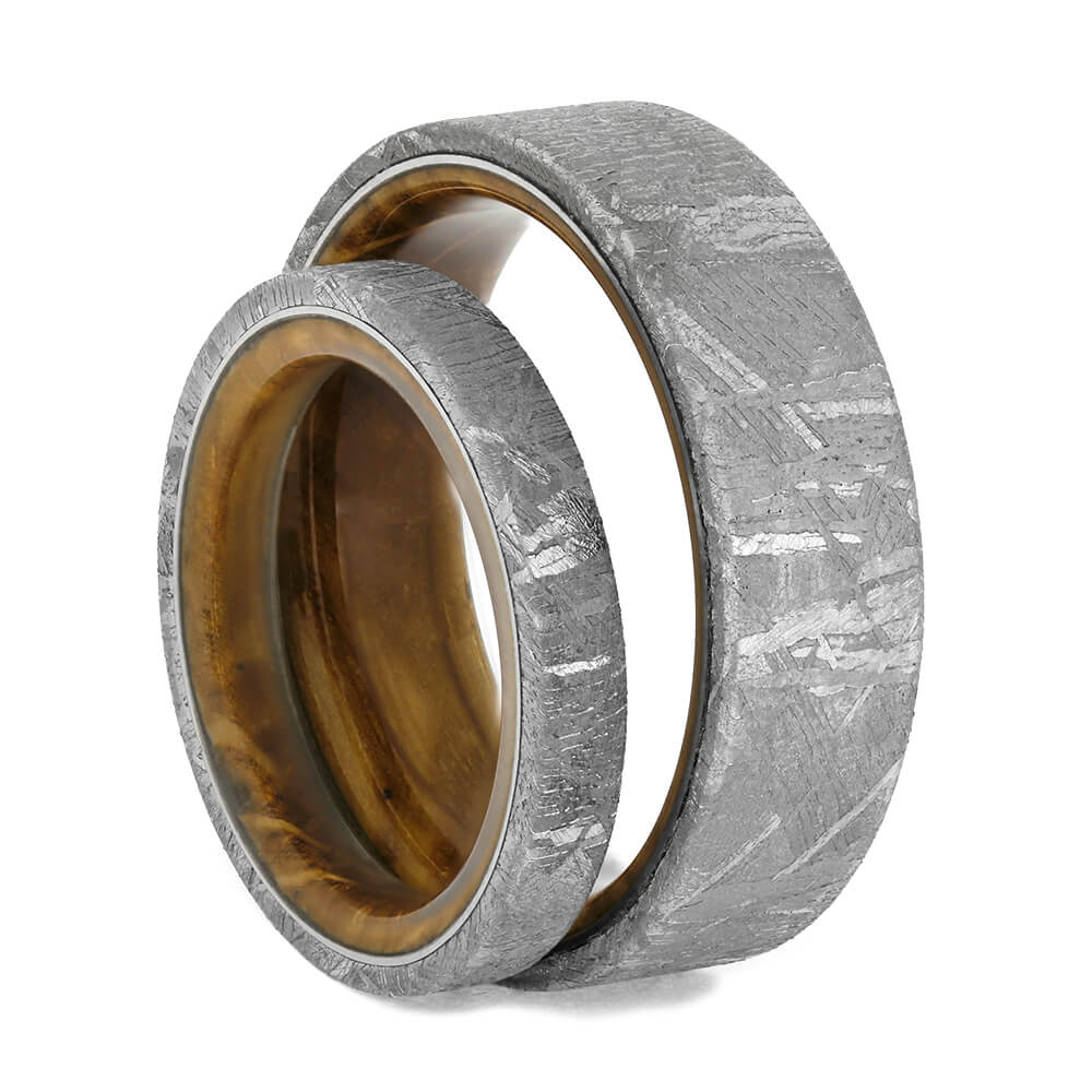 Authentic Meteorite and Whiskey Barrel Oak Wood Wedding Ring Set-4305 - Jewelry by Johan