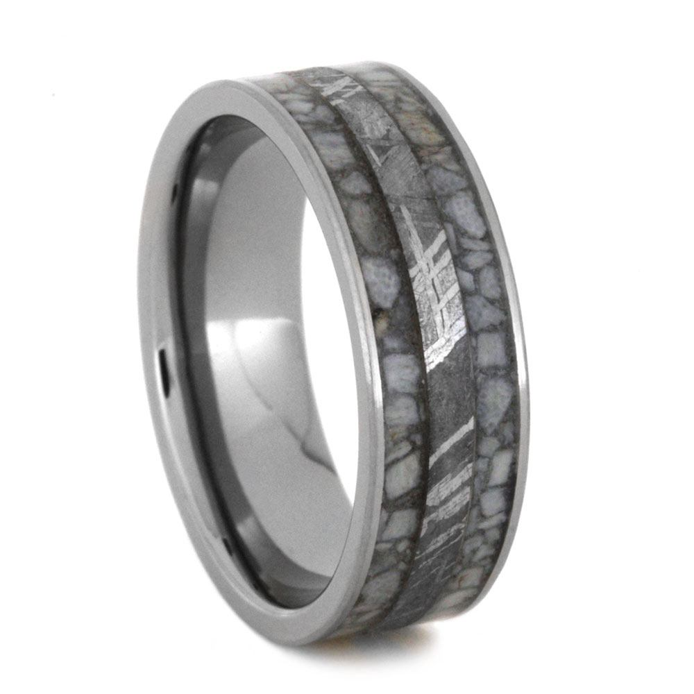 Antler Men's Wedding Band With Meteorite In Titanium