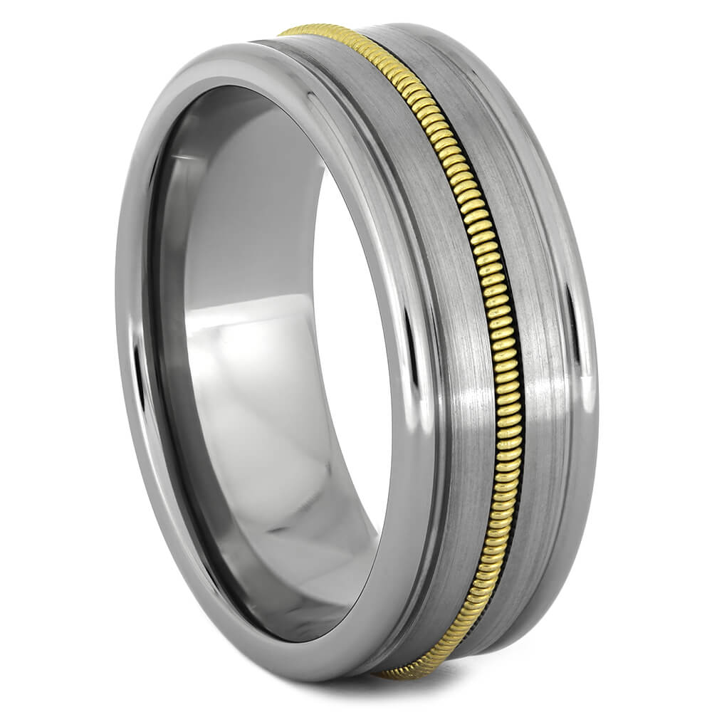 Guitar String Ring in Titanium with Brushed Finish-4309 - Jewelry by Johan