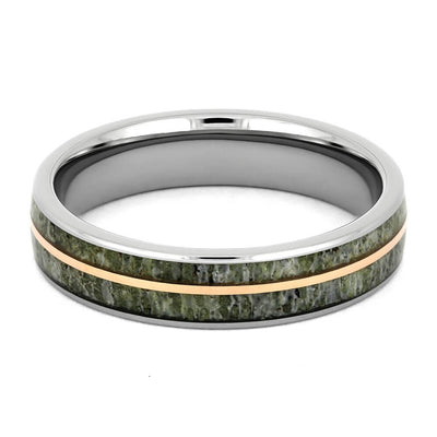 Antler Wedding Band with Rose Gold Pinstripe in Titanium-4310 - Jewelry by Johan