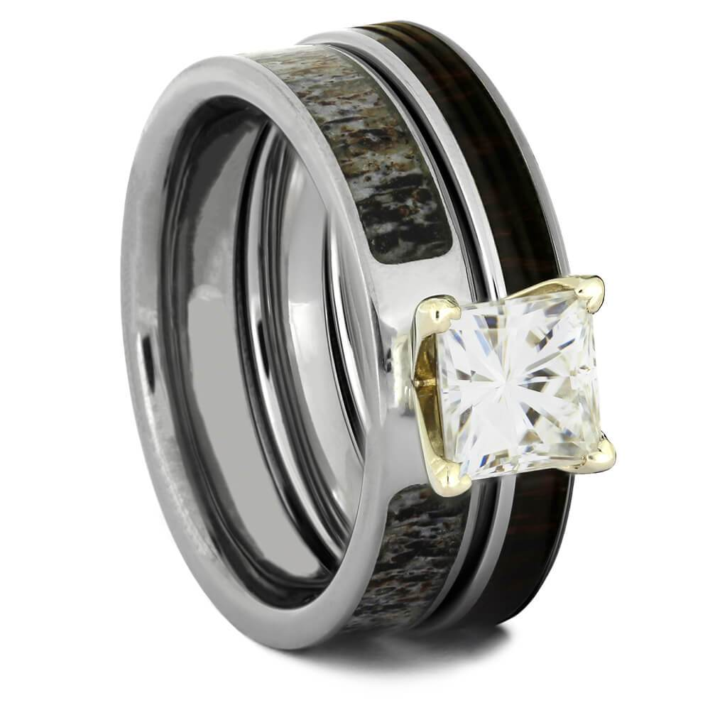 Deer Antler Bridal Ring Set with Moissanite-4317 - Jewelry by Johan