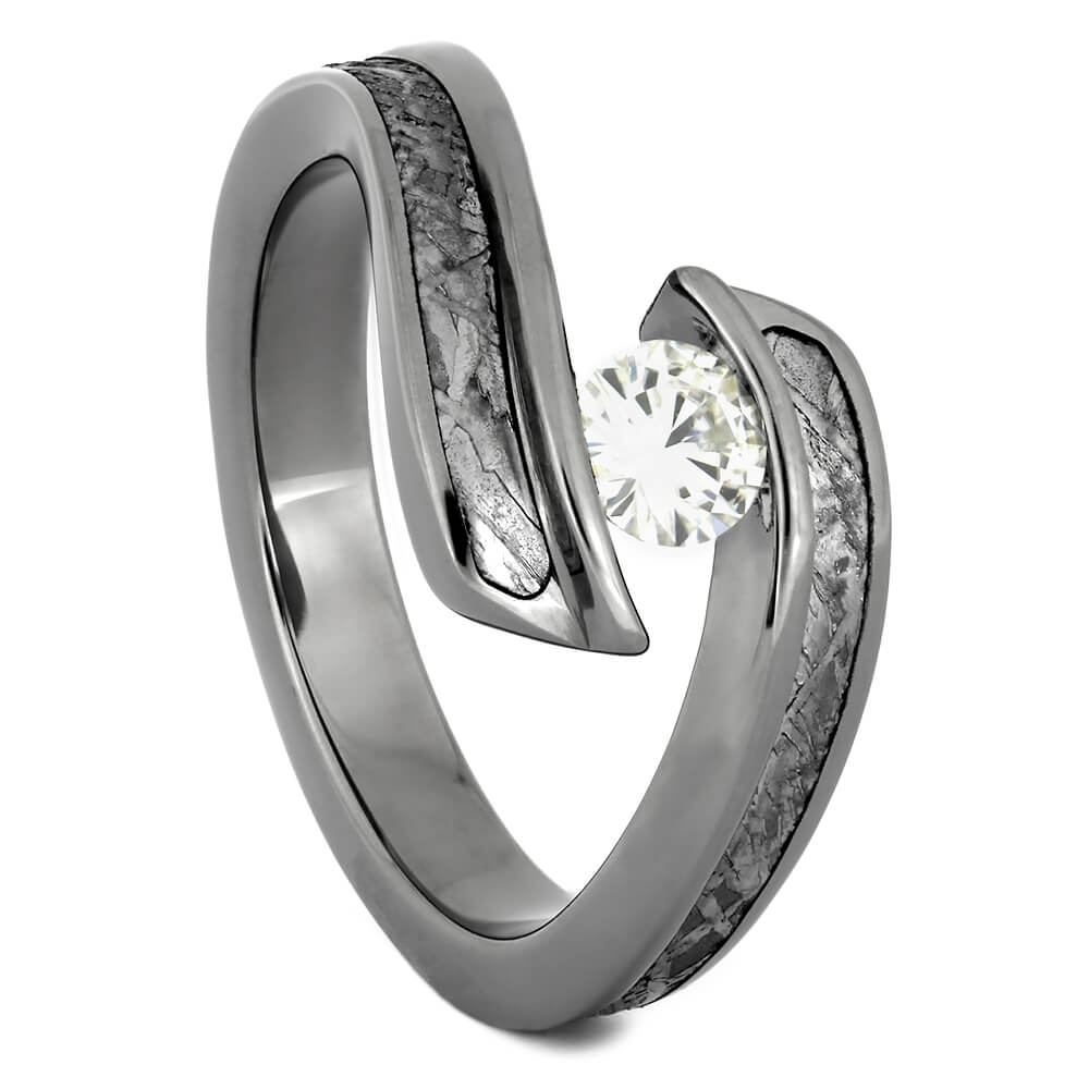 Tension Set Moissanite Engagement Ring with Meteorite-4319 - Jewelry by Johan