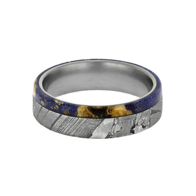 Seymchan Meteorite Wedding Band With Blue Box Elder Burl-2379 - Jewelry by Johan