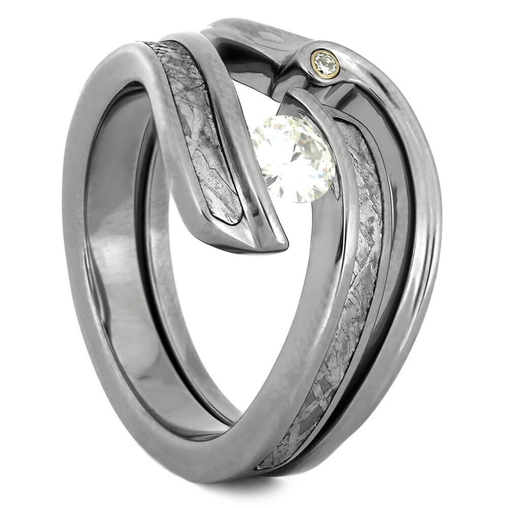 Authentic Meteorite and Titanium Bridal Set