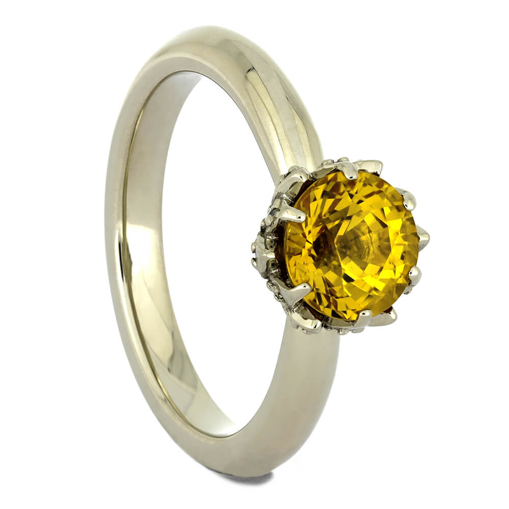 Yellow Sapphire Lotus Engagement Ring in White Gold-4322 - Jewelry by Johan