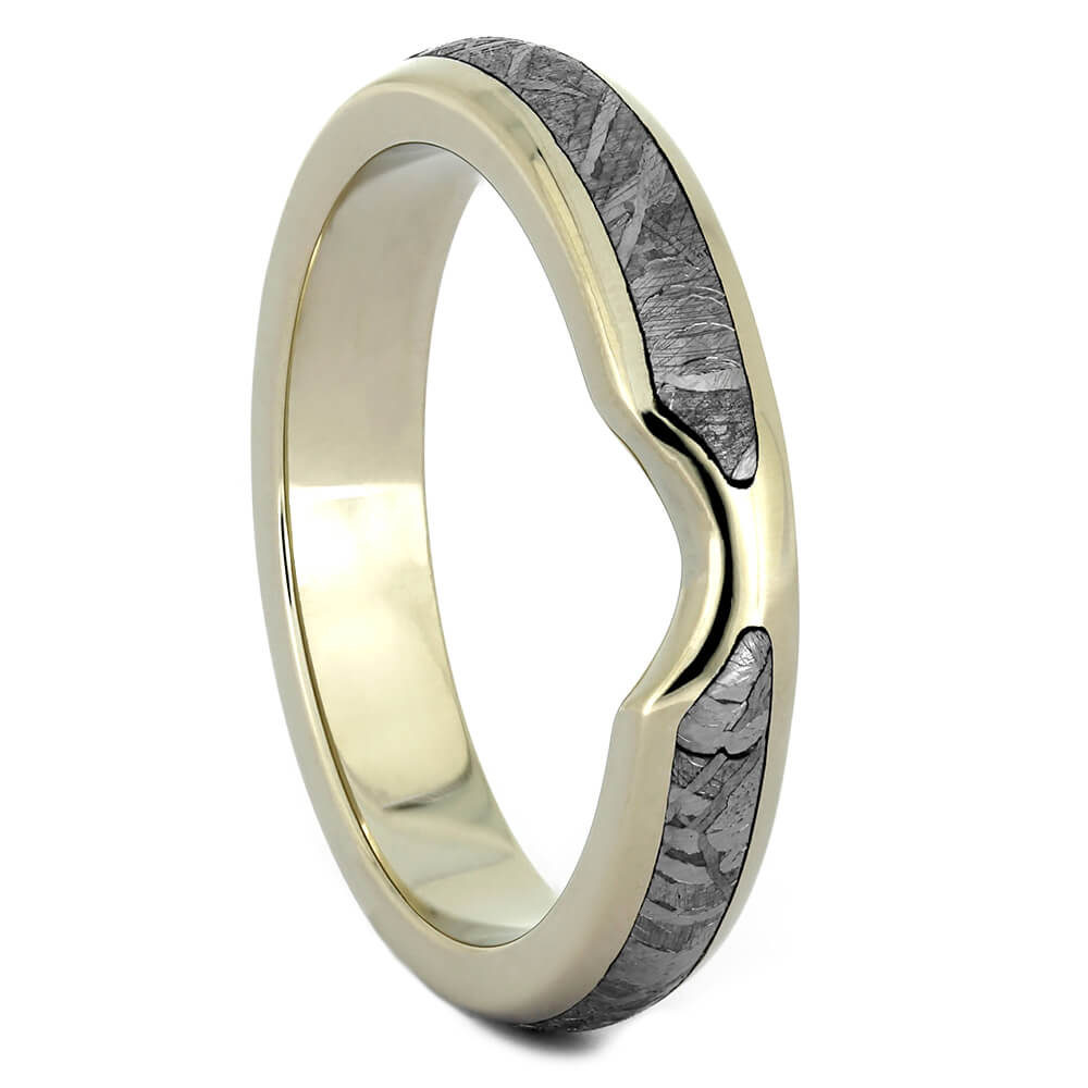 White Gold Custom Shadow Band with Gibeon Meteorite-4324 - Jewelry by Johan