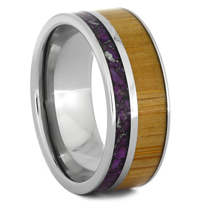 Lightning Turquoise Wedding Band with Bamboo Wood-4330 - Jewelry by Johan