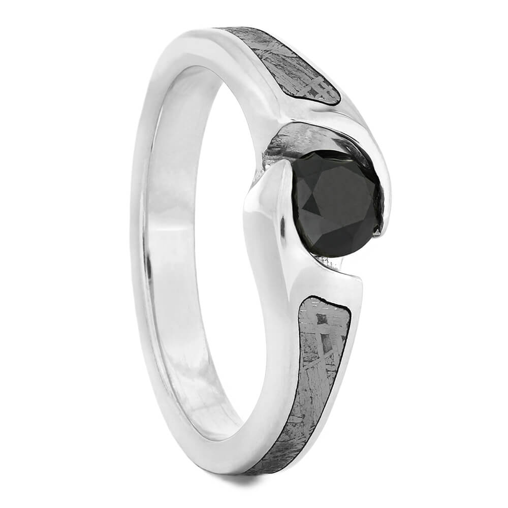 Tension Set Black Diamond Engagement Ring with Meteorite-4331 - Jewelry by Johan