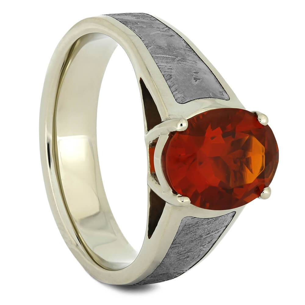 Cathedral Fire Opal Engagement Ring with Meteorite in White Gold-4338 - Jewelry by Johan
