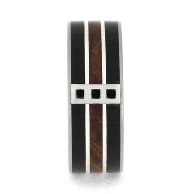 Black Diamond Wedding Band With Blackwood And Redwood-3640 - Jewelry by Johan