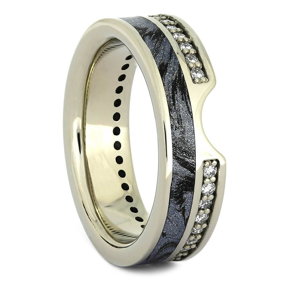 Diamond Contour Wedding Band with Cobaltium Mokume in White Gold-4349 - Jewelry by Johan