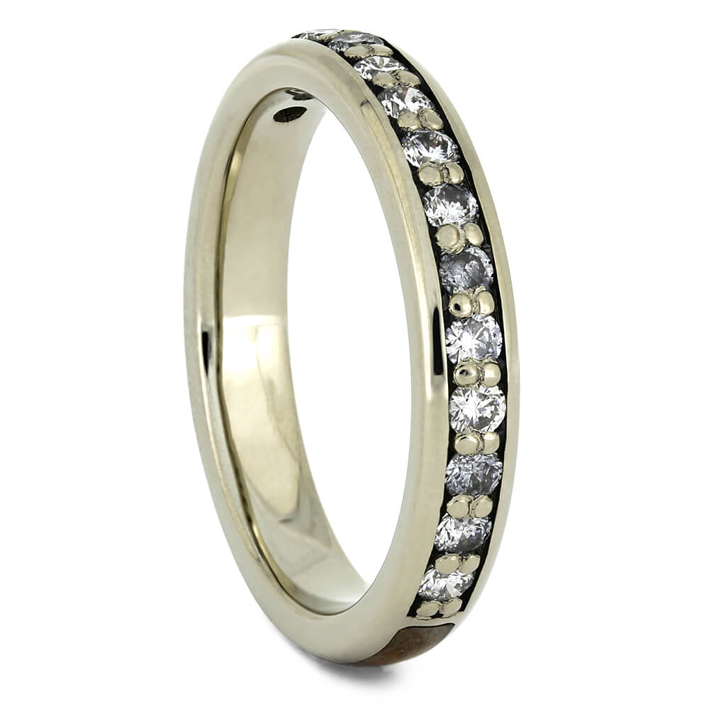 Diamond Half Eternity Wedding Band with Whiskey Barrel Wood-4350 - Jewelry by Johan